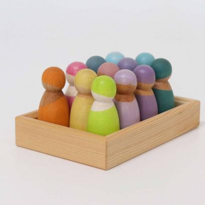 12 amis figurines pastel en bois -  Grimm's