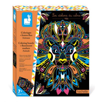 Kit créatif Coloriages et feutres fluo animaux Janod