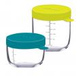 2 portions pots verre 150 ml et 250 ml Néon Beaba