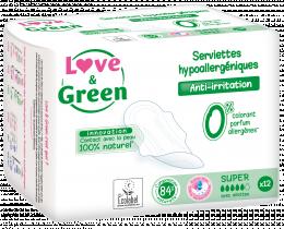 Serviettes hypoallergéniques SUPER Love and green