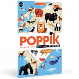 Poster pédagogique + 32 Stickers Animaux du monde Poppik