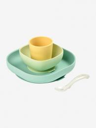 Set vaisselle silicone jaune Beaba