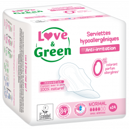 Serviettes hypoallergéniques NORMAL Love and green