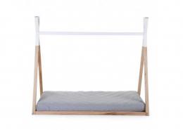 Lit cabane selon Montessori - Tipi naturel et blanc - 70x140 - Childhome