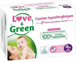 Couches jetables taille 4+ (9-20kg) Love and green
