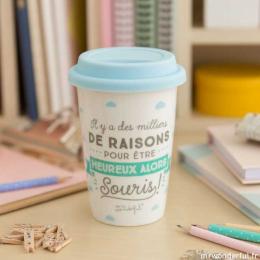 Mug take away - Il y a des milliers de raisons pour être heureux FR - Mr wonderful