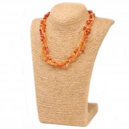 Collier en éclats de Pierre et perles Corail orange
