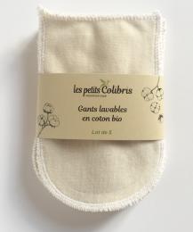 Gants lavables en coton bio Les petits colibris