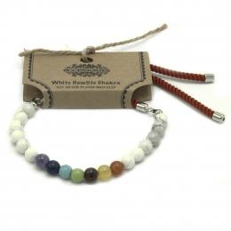 Bracelet Cordon Plaqué 925 Argent - Chakra Howlite Blanche