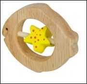 Anneaux - hochet de motricité poisson en bois