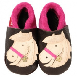 Chaussons en cuir Pololo chevaux POLLY marron-rose