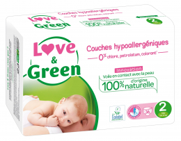 Couches jetables taille2 (3-6kg) Love and green