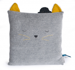 Coussin chat gris clair - Les Moustaches - Moulin Roty