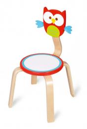 Chaise en bois - Hibou Lou rouge - Scratch