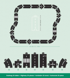 Circuit flexible Autoroute - 24 pièces - Way to play