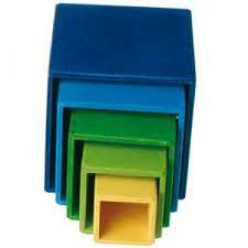 Cube empilable coloré en bois - Grimm's