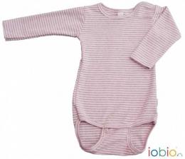 Body manches longues GOTS - rose clair ligné - Iobio