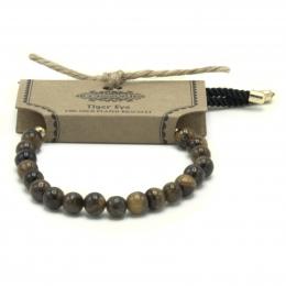 Bracelet Cordon Plaqué 18K Or - Oeil de Tigre