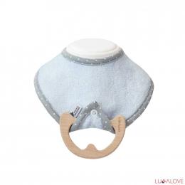 Bleu - Anneau de dentition en bois et son bavoir en bambou - Lullalove