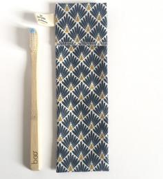 Pochette à brosse à dents en coton enduit Les petits colobris