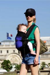 PhysioCarrier - Coton Noir - Noir poche Iris  - JPMBB - Je porte mon bébé
