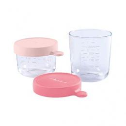 2 portions pots verre 150 ml et 250 ml rose foncé Beaba