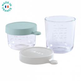 2 portions pots verre 150 ml et 250 ml Gris clair Beaba