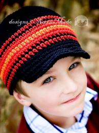 Bonnet /casquette en crochet - bleu marine (noir)/rouge - garçon