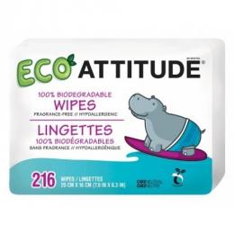 Lingettes humides biodégradables par lot de 3 - Attitude