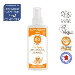 Spray Crème solaire BIO en spray 50SPF Bébé Alphanova