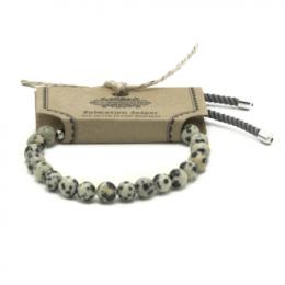 Bracelet Cordon Plaqué 925 Argent - Jaspe Dalmatien