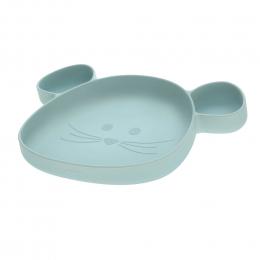 Assiette à compartiments en silicone Little Chums Bleu Lassig