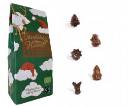 Figurines de Noël mix au chocolat au lait praliné et au chocolat noir praliné équitable et bio 100 g