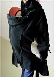 Manteau de portage / grossesse en laine - Black/Paloma - Mamalila