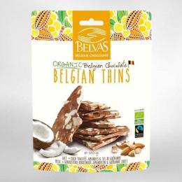 Chocolat Lait à casser Belgian Thins amandes et coco Belvas