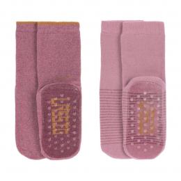 Lot de 2 chaussettes coton Bio antidérapantes Rose - Lassig