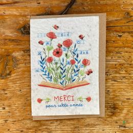 Carte à planter fin d'année scolaire - Merci pour cette année Livre - Les cartes de Lulu