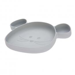 Assiette à compartiments en silicone Little Chums Gris Lassig