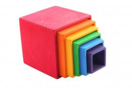 Maxi Cubes à emboîter multicolores en bois - Grimm's