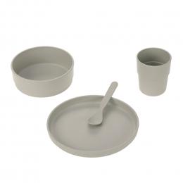 Coffret repas enfants Uni gris clair Lassig