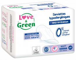 Serviettes hypoallergéniques NUIT Love and green