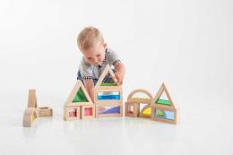 Cubes sensoriels en bois rainbow - 16 pièces - TicKit