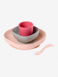 Set vaisselle silicone pink Beaba