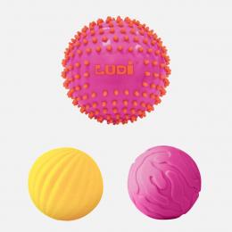 Lot de 3 balles sensorielles roses - Ludi