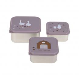 Lot de 3 petites boîtes à goûter Tiny Farmer Lilas Lassig