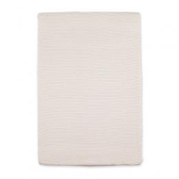 Housse matelas à langer 60x85cm rayure ecru naturel twin jersey Bemini
